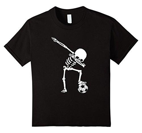 Kids Soccer Skeleton Dabbing Ball Funny Halloween T-Shirt 12 Black