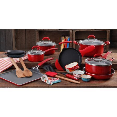 The Pioneer Woman 27-Piece Vintage Aluminum Cookware Combo Set, Red