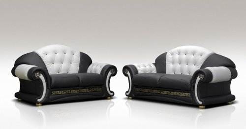 Model Name Molly 100 Bonded Italian Leather Two Piece Suite 3 2 Versace  Seater Genuine Black