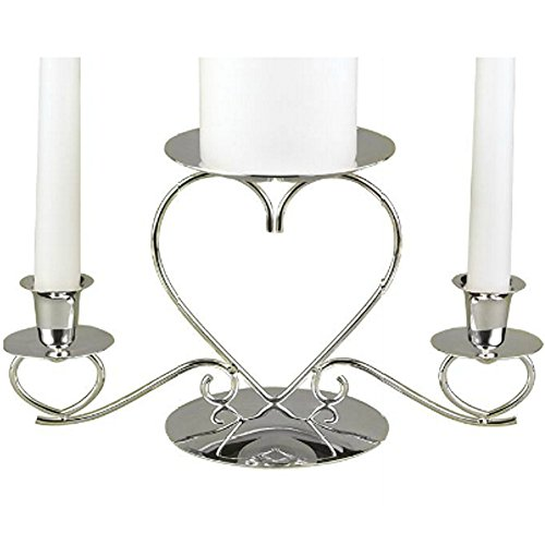 Triple Hearts Silver-Plated Unity Candle Holder