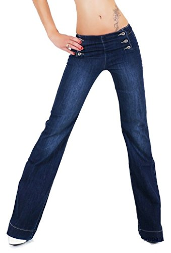 Women's Quality Flared Wide Leg Jeans Blue Washed Sizes UK 6 8 10 12 14