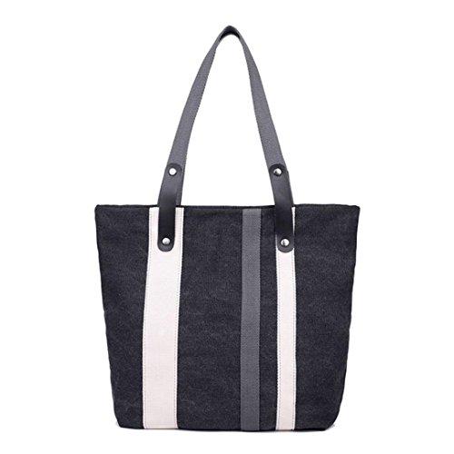 [Gillberry Women Canvas Stripe Handbag Shoulder Bag Large Tote Ladies Purse (Black)] (Stripe Shoulder Tote Bag)