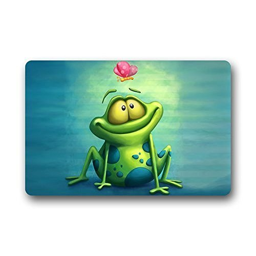 (DENSY Custom Cartoon Green Frog Doormat Machine Clean Top Fabric Non Slip Rubber Backing Door Mats 18 x 30 Inch)