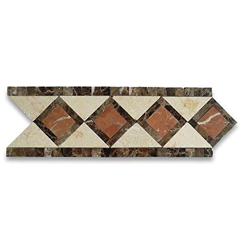 Venice Rojo 4.4x12.9 Marble Mosaic Border Listello Tile Polished