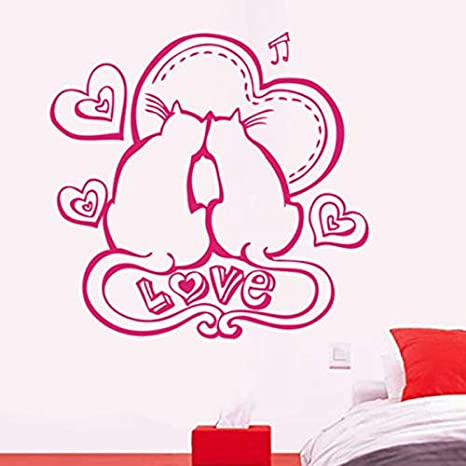 59x57cm Amour Pareja Chat Love Cats Sweet Wallpaper Stickers