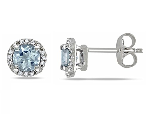 Aquamarine Halo Earrings 4/5 Carat (ctw) with Diamonds in Sterling Silver by Gem And Harmony
