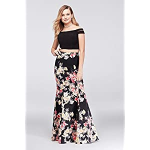 7a85adf9538 David s Bridal Split Sleeve Printed Charmeuse Two-Piece Prom Dress Style  293BN