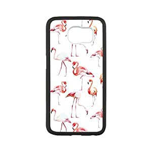 HOT SALE, Generic Beautiful Flamingo print Pattern black plastic and TPU case For SamSung Galaxy S6 at Run horse store