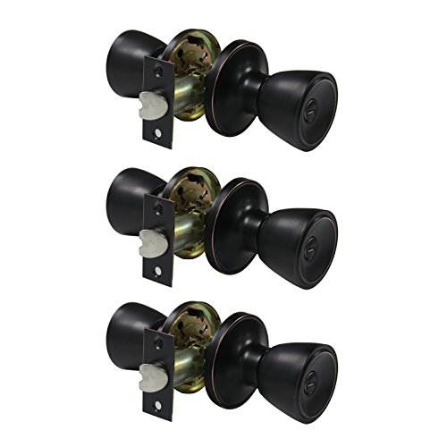 3 Pack Probrico 591-ORB Tulip-Style Interior Bathroom Privacy Doorknobs Keyless Door Lock Lockset in Oil Rubbed Bronze