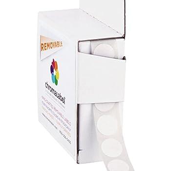 ChromaLabel 1/2 Inch Round Removable Color-Code Dot Stickers, 1000 per Dispenser Box, White