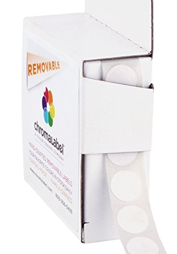 ChromaLabel 1/2 inch Removable Color-Code Dot Labels | 1,000/Dispenser Box (White)