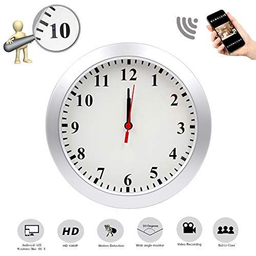 Mopora WiFi Indoor Hidden Camera Wall Clock, 1080P Remote View, and Motion Detection Monitor Your Home and Office