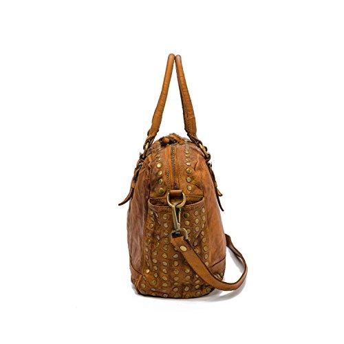 Ira del Valle, Damenhandtasche in Vintage-Leder, Made in Italy, Modell Tasche Lima, große Tasche und Schultergurt mit Schultergurt für Mädchen Cognac