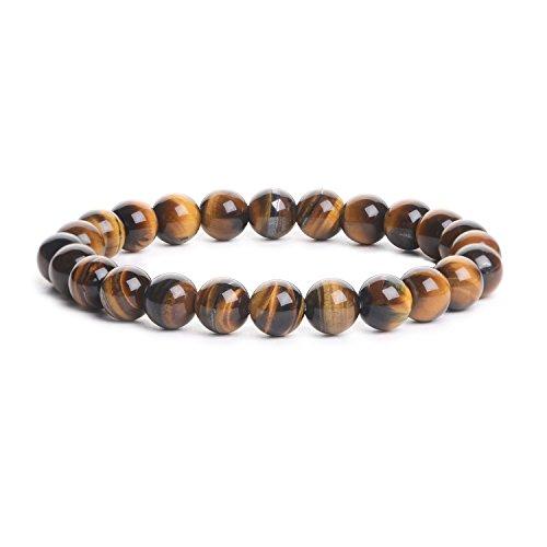 iSTONE Natural AA Grade Golden Tiger Eye Gemstone 8mm Round Beads Stretch Bracelet 204703403 ()