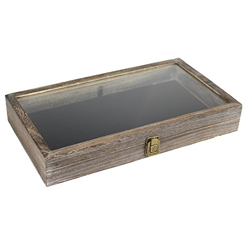 Coffee Color Wood Jewelry/Bead Storage Box in Tempered Glass Top Lid with Velvet Black Pad Display Box Case Medals Awards Jewelry Knife