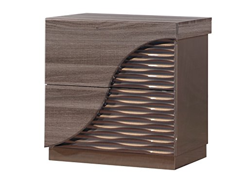 Global Furniture North(138)-NS Nightstand, 27″ x 18″ x 26″, Zebra Wood with Gold Lines