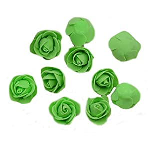 Ewandastore 100 Pcs 1.2 Inch Fake Rose Heads Real Looking Artificial Roses Flowers Heads for Wedding Bouquets Centerpieces Party Baby Shower Home DIY Decorations(Green) 7