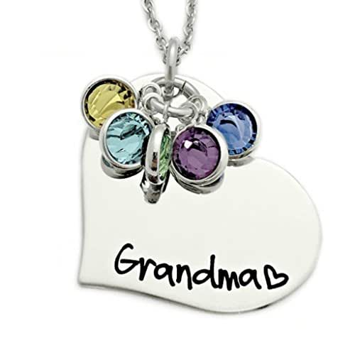 Grandma Heart Birthstone Necklace - Personalized Jewelry - 1198