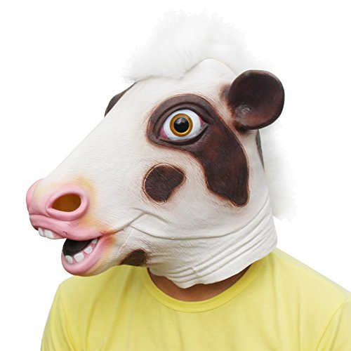 CreepyParty Novelty Halloween Costume Party Latex Cow Head Mask (Pink Cow)]()
