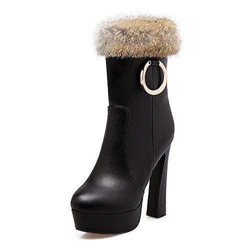 tacón HSXZ Calf de para piel botines alto mujer Bootie botas de Mid sintética moda botas invierno de botas Toe Black vestidos otoño Round botines Zapatos x1xB7O