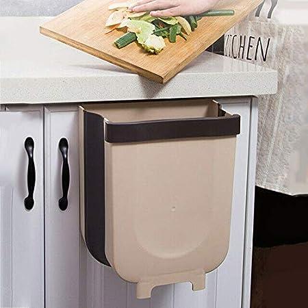 Lmain - Papelera, pequeño cubo de basura plegable para puerta de armario de cocina, hogar, jardín, oficina, escuela, cocina, baño, separador seco y húmedo, 8 l: Amazon.es: Hogar
