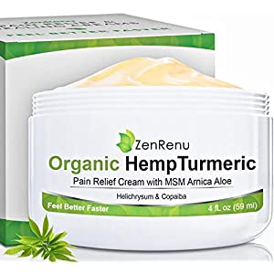 Organic Hemp Pain Relief Cream Large (4 oz) Value Size by ZenRenu – MSM Turmeric Arnica – Made in USA Premium Hemp…