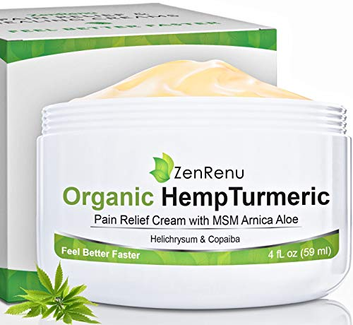Organic Hemp Pain Relief Cream Large (4 oz) Value Size by ZenRenu - MSM Turmeric Arnica - Made in USA Premium Hemp Extract & Hemp Oil for Pain Relief