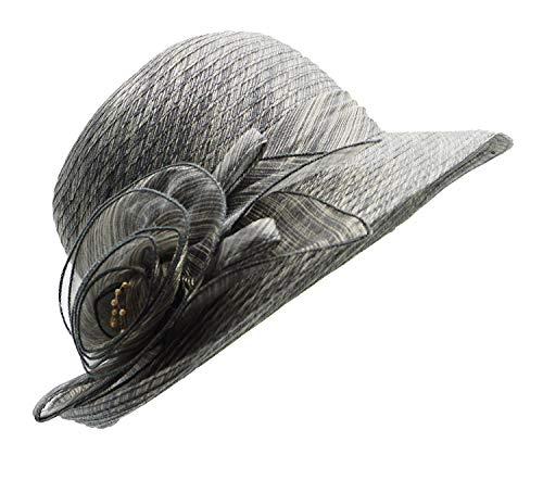 Bellady Women Organza Derby Church Wedding Fascinators Cloche Bucket Bowler Hat,Dark Gray