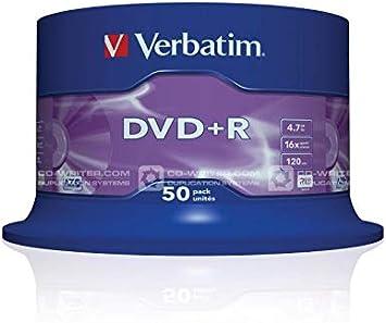 Verbatim 43550 -Pack de DVD+R vírgenes (50 Unidades, 4.7 GB, 16x): Verbatim: Amazon.es: Informática
