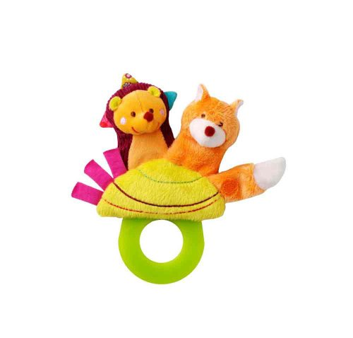 Hedgehog Finger Puppet - Lilliputiens Simon Teething Rattle (3 Toys in 1 - Finger Puppet, Teether and Pacifier Holder)