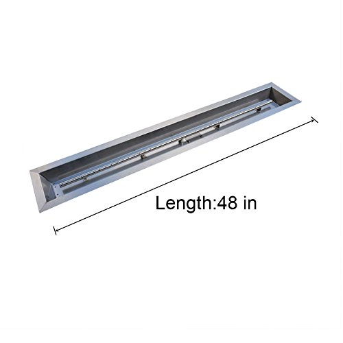Steel Linear Trough Drop-In Fire Pit Pan and Burner 48 by 6-Inch (Flame Burner Pan)
