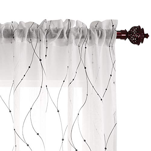 Deconovo White Sheer Curtains with Dots Pattern Curtain Panels Elegance Sheer White Curtains for Living Room 54W x 108L Black 2 Panels