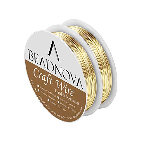 BEADNOVA Bare Copper Wire Tarnish Resistant Jewelry Making Wire (Gold Plated, 22 Gauge)