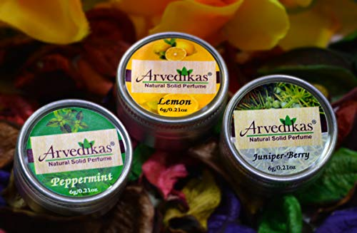 - Arvedikas Natural Solid Perfume Beeswax/Mini Jar/Floral Fragrance/Skin Friendly/Alcohol Free/Body Musk/Body Parfum/Gift for Her / 6gm (Set of 3pc) (Peppermint,Lemon,Juniper-berry)