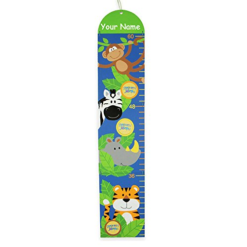 Stephen Joseph Personalized Growing Inch by Inch Jungle Zoo Animal Measuring Growth Chart with Photo Frames for Boys and Girls ()