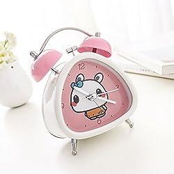 Wolf Warrior Cute Cartoon Triangle Rectangular Accurate Analog Alarm Clock Silent Sweep Night Backlight Twin Bell Novelty Bedroom Decoration Alarm Clock Children Gift (Pink(Rabbit))