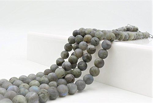 - Goodbead Natural Labradorite Smooth Round-Cut Matte Finish Gemstone Beads 15.5