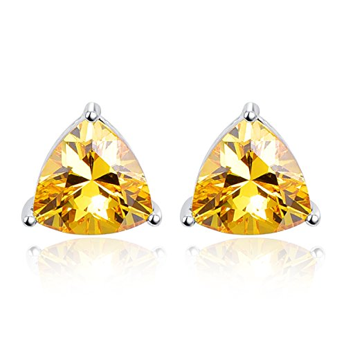BONLAVIE 925 Sterling Silver Triangle Shaped Created Yellow Citrine Gemstone Birthstone Stud Earrings for Women
