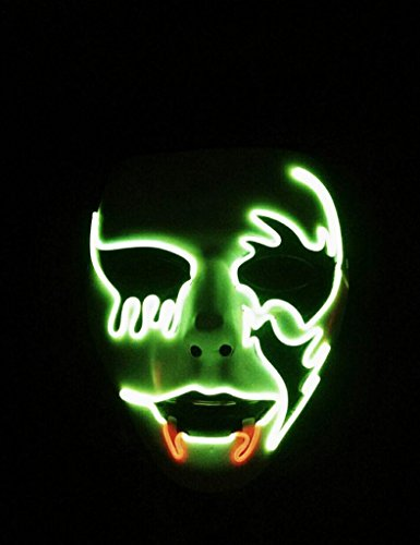 Circle Circle El Wire Glowing Mask Luminous LED Light Up Cool Halloween Christmas DJ Birthday Cosplay Death Grimace Masks for Festival Party Show (Green and Red)