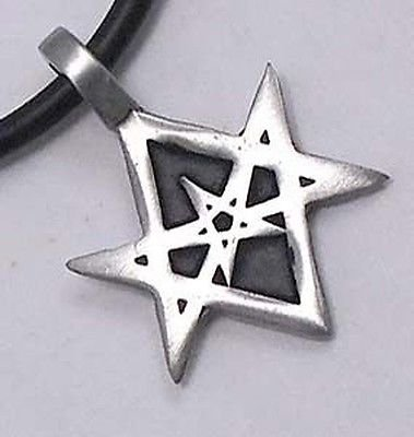 Thelema the seal of orichalcos unicursal hexagram 6 pointed star thelema the seal of orichalcos unicursal hexagram 6 pointed star pewter pendant necklace mozeypictures Images