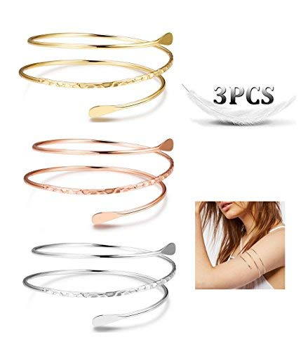 "Finrezio 3 PCS Minimalist Simple Coil Upper Arm Band Cuff Armlets for Women Girls Arm Bangle Dia.3.15"", -"