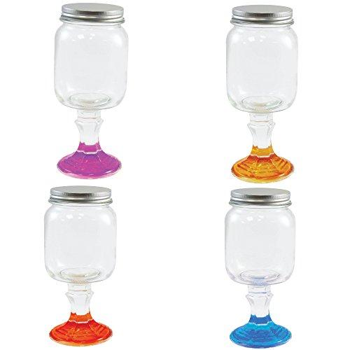 Wine Glass Stemware Mason Jar - Hillbilly Wine Glass - 18 oz.Set of 4 Redneck Wine Glasses Cocktail Set -