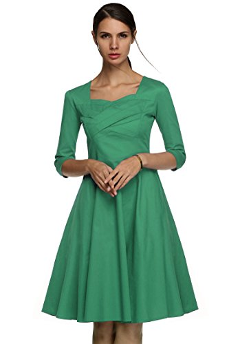 Women's Green2 Vintage Dress Floral Hepburn Party Long Sleeve 50s Evening Cocktail ACEVOG Style dZ7Rdq