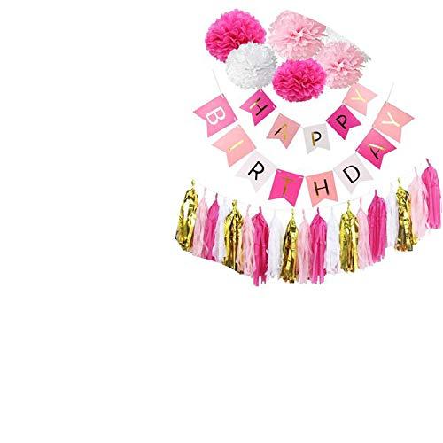 Noon-Sunshine decorative-plaques Happy Birthday Banner Tissue Paper Tassel Bunting Garland Pom Pomsation,Style 3 -