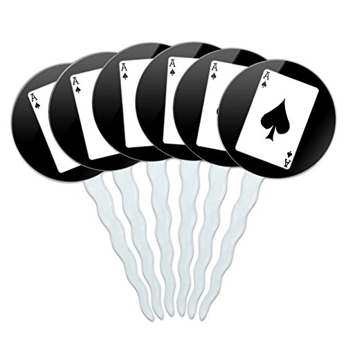Set of 6 Cupcake Picks Toppers Decoration Gambling Track Cards Poker - Playing Cards Ace of Spades