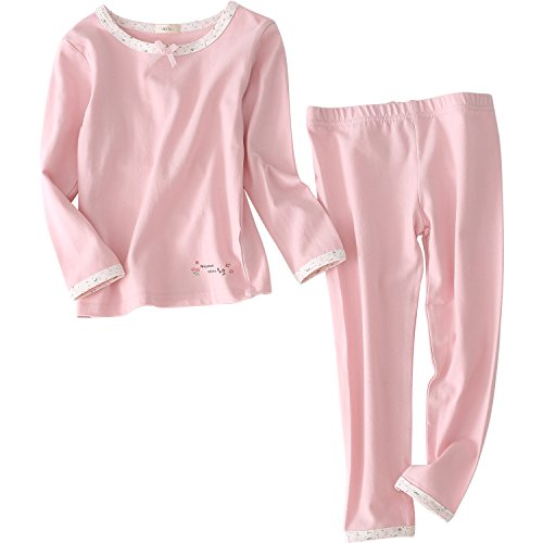 - Girls Pajamas Sleepwear 2-Piece Cotton Long Sleeve Top and Pant Clothing Set (3-4T, Pink)