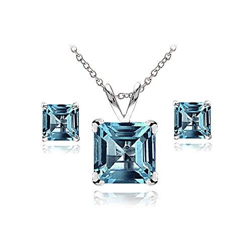 Sterling Silver London Blue Topaz Square Solitaire Necklace and Stud Earrings - Pendant Blue Topaz Bracelet