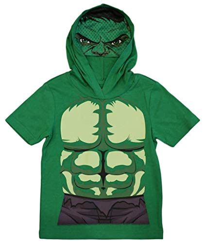Marvel Avengers Little Boys' Toddler Hulk Hooded Tee with Mask (2T) Green ()