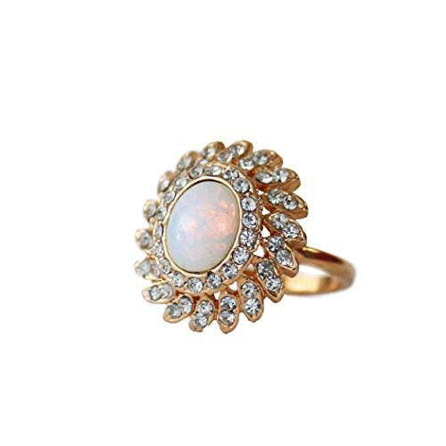 (Providence Vintage Jewelry Pinfire Opal Cocktail Ring 18k Yellow Gold Electroplated)