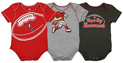 (Outerstuff NFL Boys Newborn and Infant Assorted Team 3 Pack Creeper Set, Tampa Bay Buccaneers 3-6 Months)